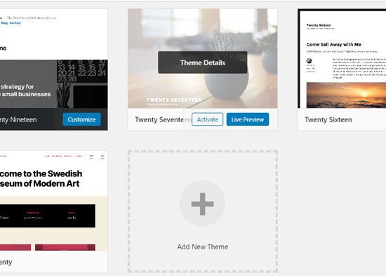 activate a wordpress theme