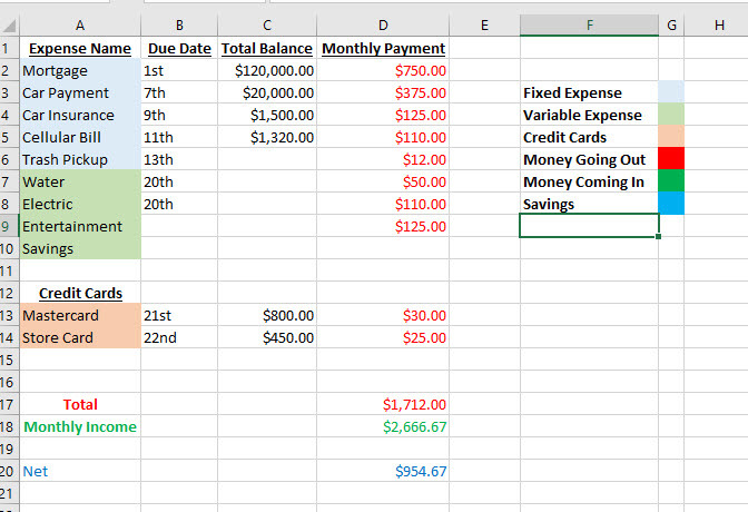 using excel to save money